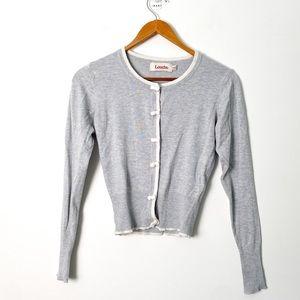 Vintage Women's Grey White Y2K Cardigan